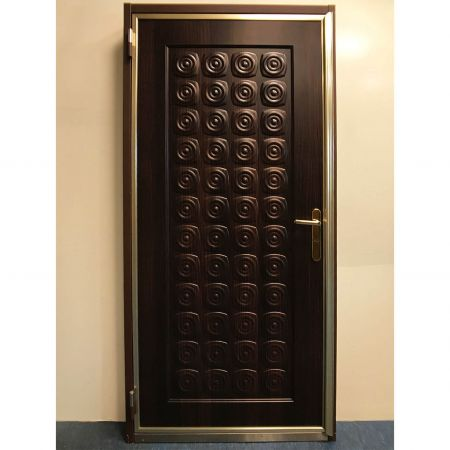 Wood Grain PVC Pre-coated Metal -Mocha Cherrywood (Mocha Cherrywood Wood Grain PVC Vinyl coated metal emergency exit door panel)