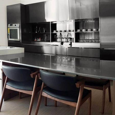 AFP-SUS Finish-Black (Anti fingerprint stainless steel kitchen cabinets)