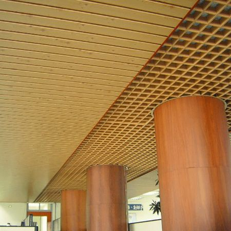 Laminated steel product for building material - grille ceiling