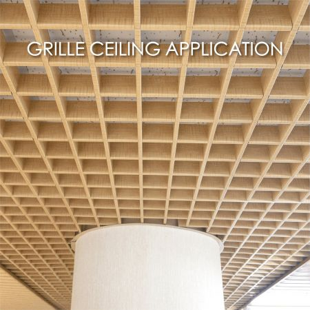 Grille Ceiling - Using laminated metal for grille ceilings adds decorativeity and durability