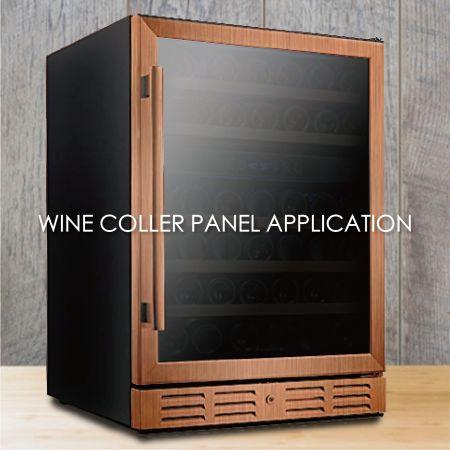 와인 냉장고 패널 - 와인 쿨러 패널을 만들기 위해 나뭇결 코팅 금속을 사용하면 미학과 내구성을 높일 수 있습니다