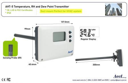 Transmissor de temperatura e umidade LoRa de montagem em duto