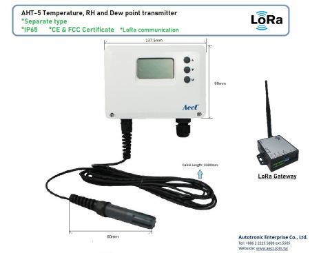 Tipo separado LoRa RH e transmissor de temperatura