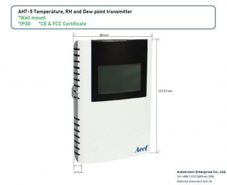 Transmissor de temperatura / umidade / ponto de orvalho LoRa na parede