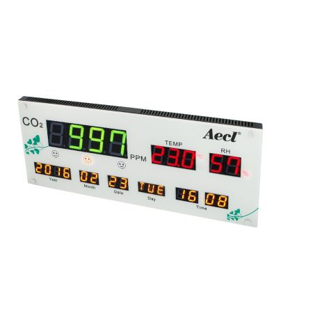 CO2, temperature and RH Display - Wall-mount CO2, temperature and hygrometer with RS485 signal output and three relays