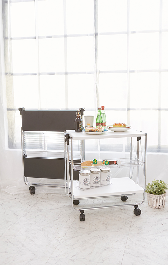 This conveniently foldable serving cart is an easy and quick way to provide additional surface space wherever necessary