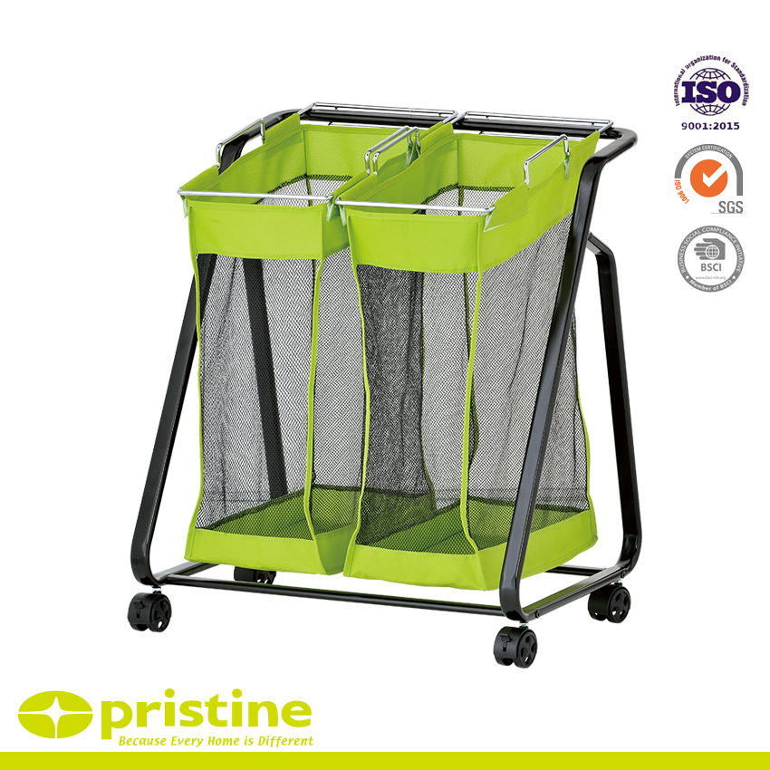 Rolling Laundry Hamper with 2 Green Removable Bags - Rolling laundry sorter cart