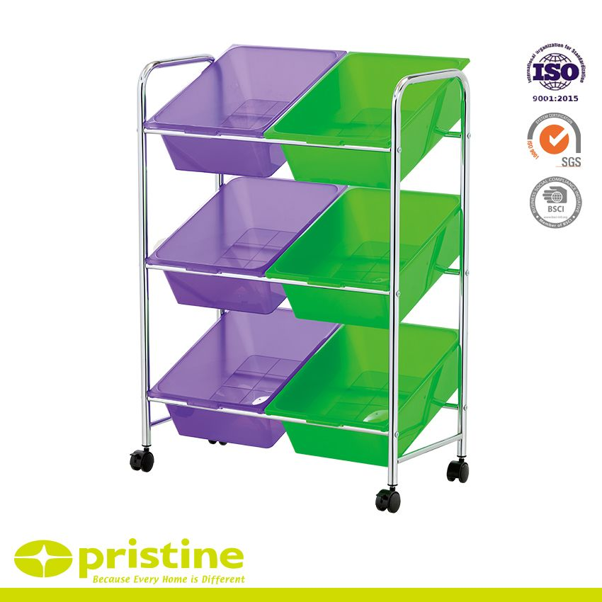 6 Bin Toy Storage Cart - Keep supplies, toys, and books organized and secure using plastic storage bins
