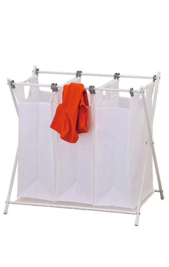 The triple laundry sorter make it easy to keep things separated and moving along in an orderly fashion