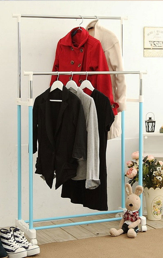 Double Rail Adjustable Rolling Garment Rack