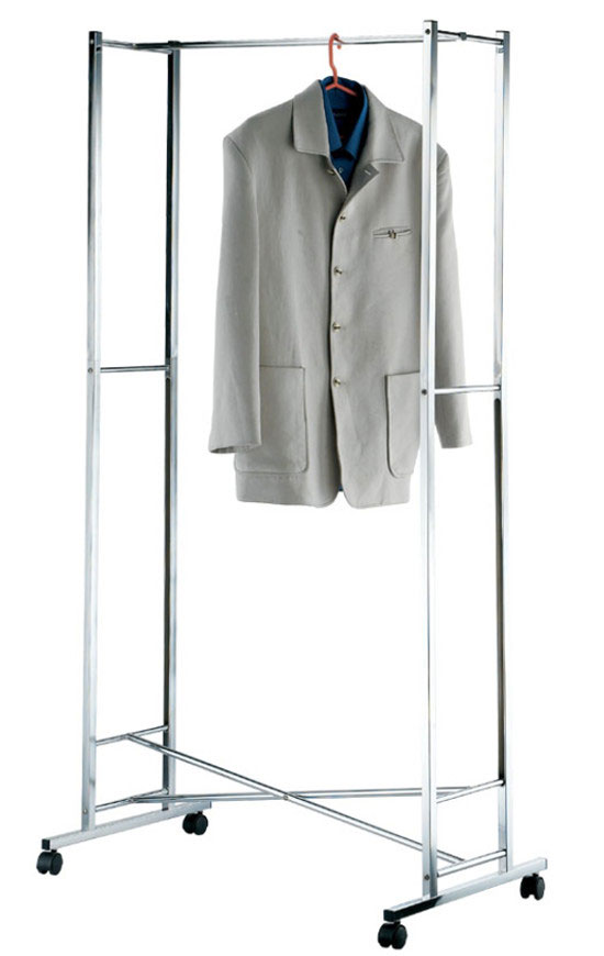 Portable Double Rail Clothes Garment Rack