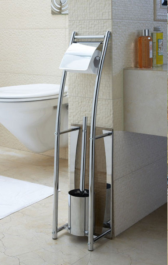 Freestanding toilet brush and the paper holder