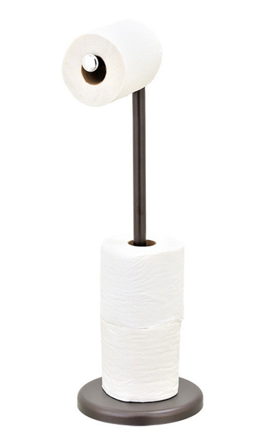 Free-Standing Bathroom Tissue Storage Brushed Stainless US Toilet Paper Holder