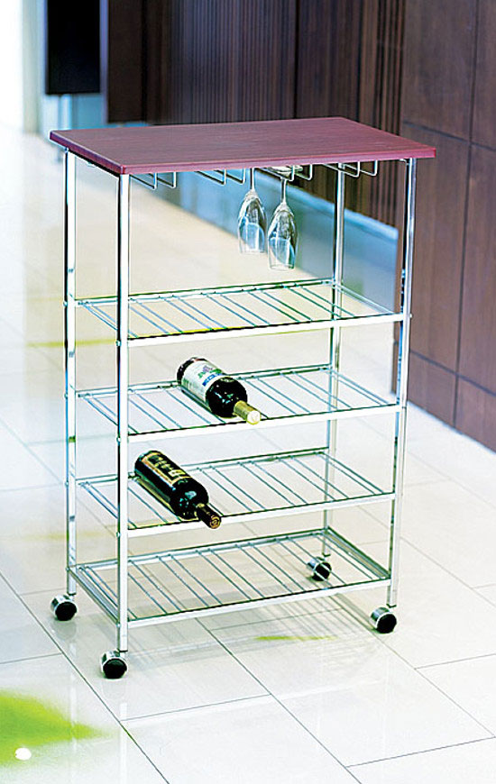As stylish as the sturdy structure, the beautiful kitchen cart is made of steel wire with a sleek chrome finish