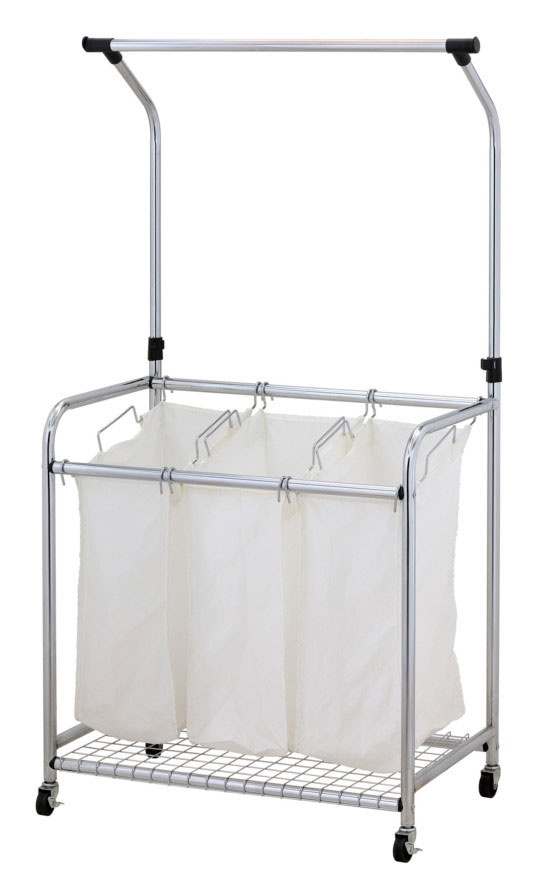 Laundry sorter with hanger bar separates your fabrics, not only for darks and lights but also delicates and dry cleaning