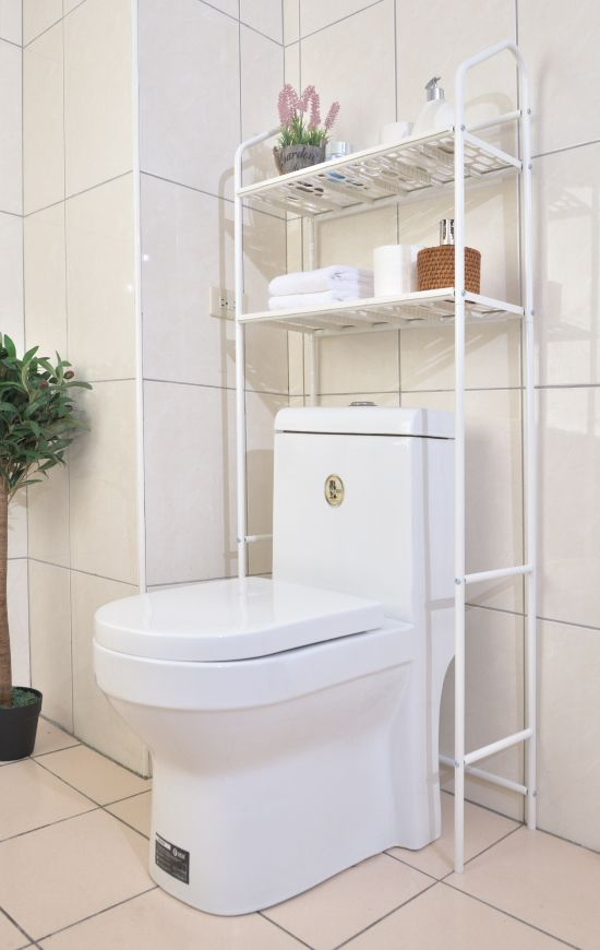 3-shelf bathroom over the toilet rack is designed to fit over a standard-sized toilet