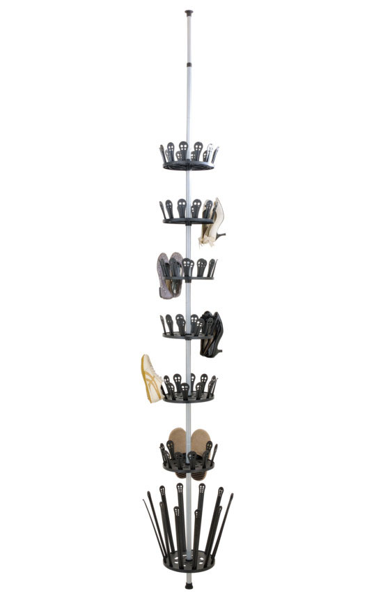 Storing and finding your shoes just became easier with the floor to Ceiling Shoe Spinner