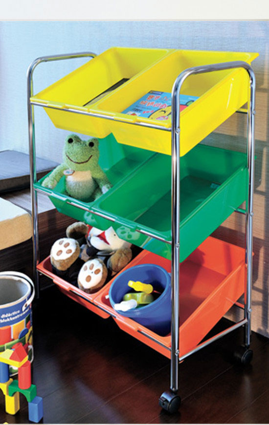 Keep supplies, toys, and books organized and secure using plastic storage bins