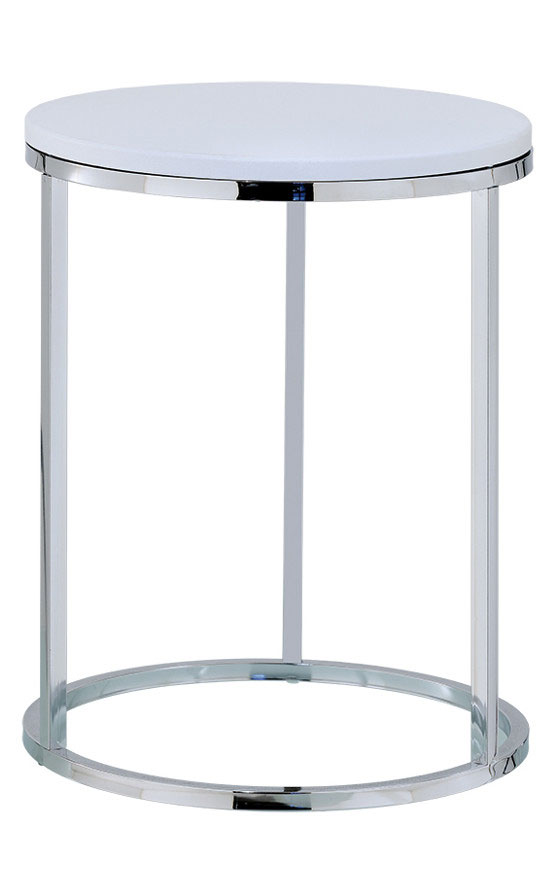 Round metal side end table with MDF top is easy to assemble and fits in small spaces