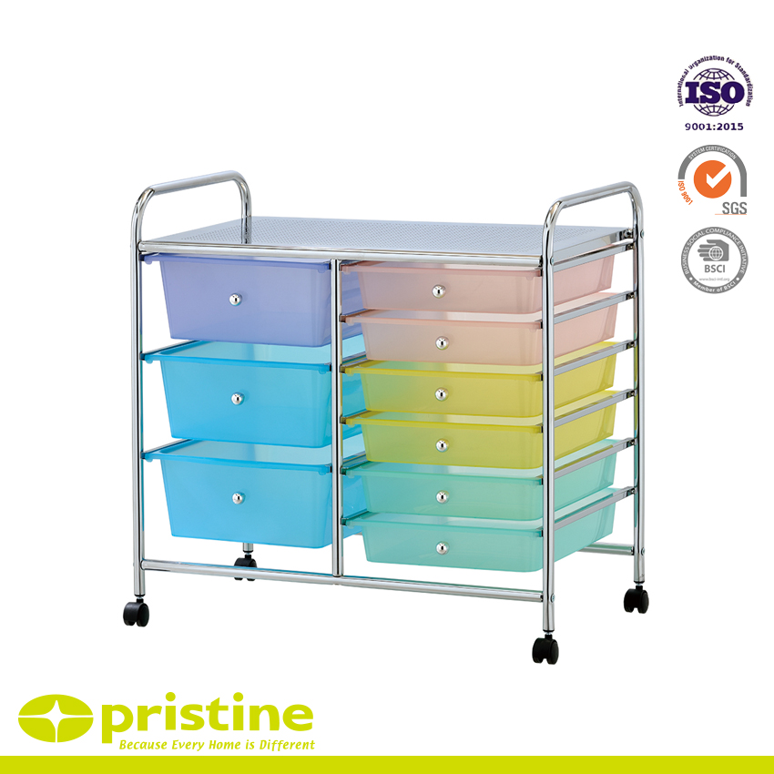 9 Drawer Chrome Studio Organizer Cart - Chrome-finished metal frame and solid PP drawers