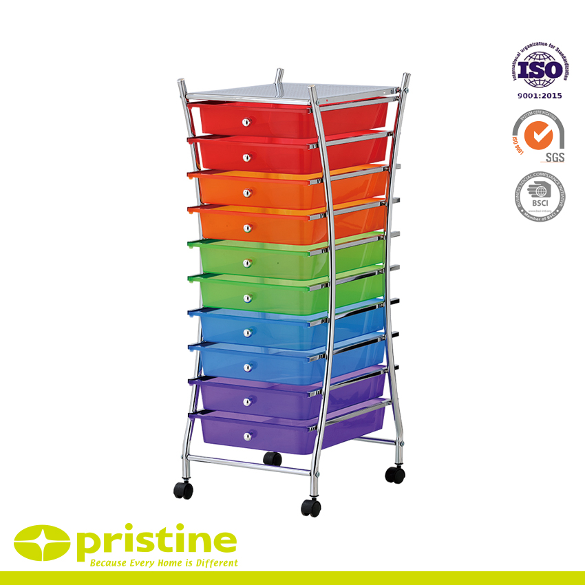 10 Drawer Rolling Storage Cart - Sturdy construction with bright chrome plated metal frame with 10 sliding PP drawers