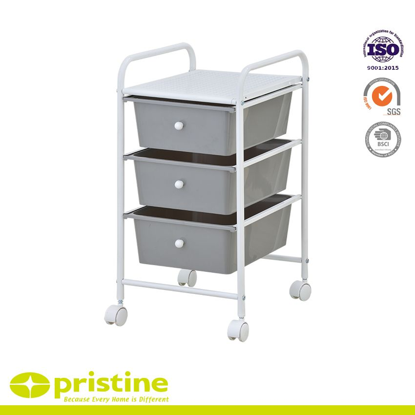 3 Drawer Trolley - Sturdy construction with bright chrome plated metal frame with 3 sliding PP drawers