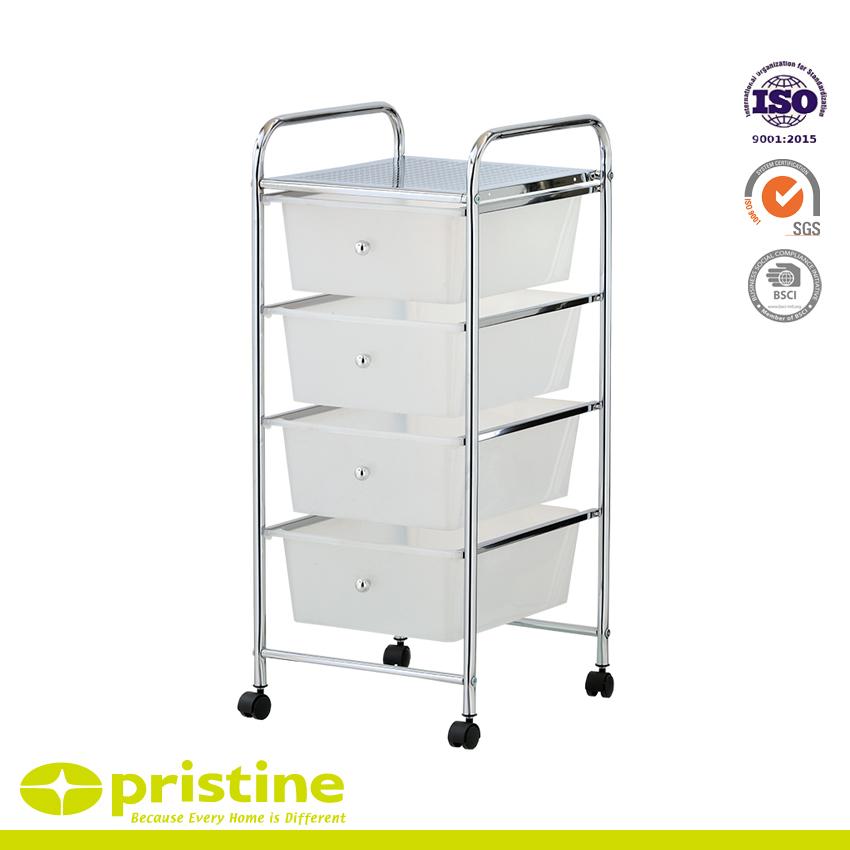 4 Plastic Drawer Trolley Cart - 4 plastic drawer storage unit