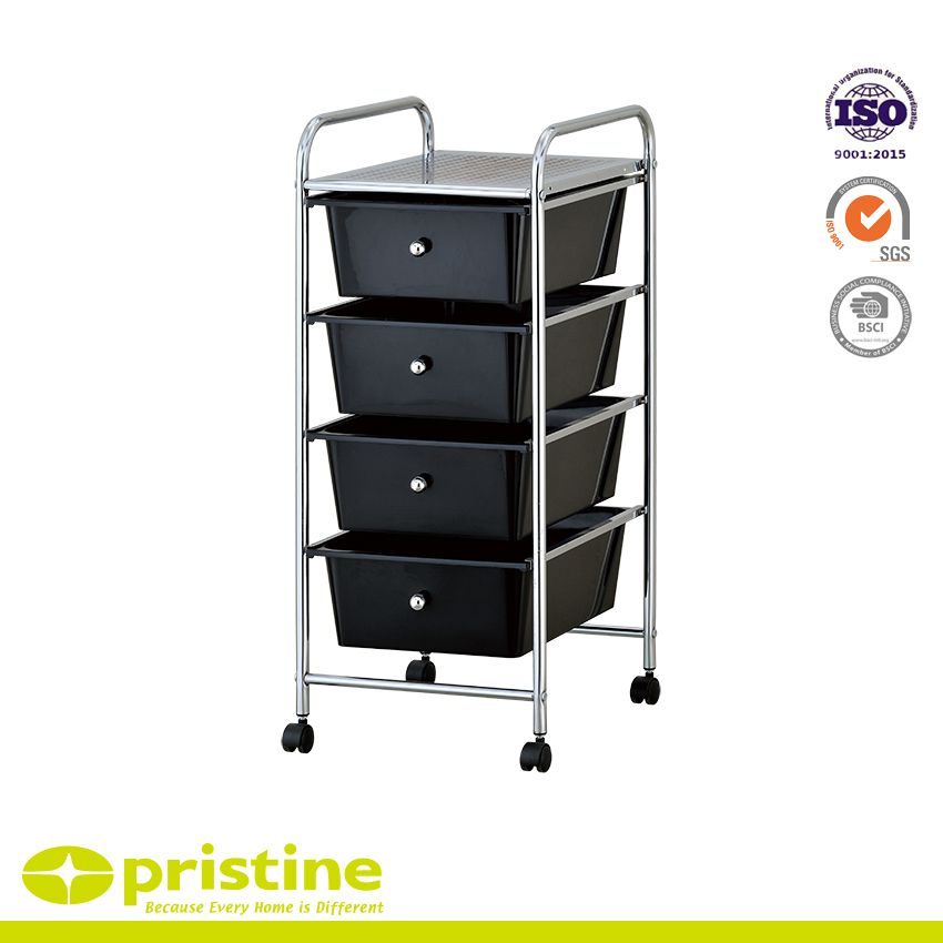 4 Drawer Organizer Cart - Sturdy construction with bright chrome plated metal frame with 4 sliding PP drawers