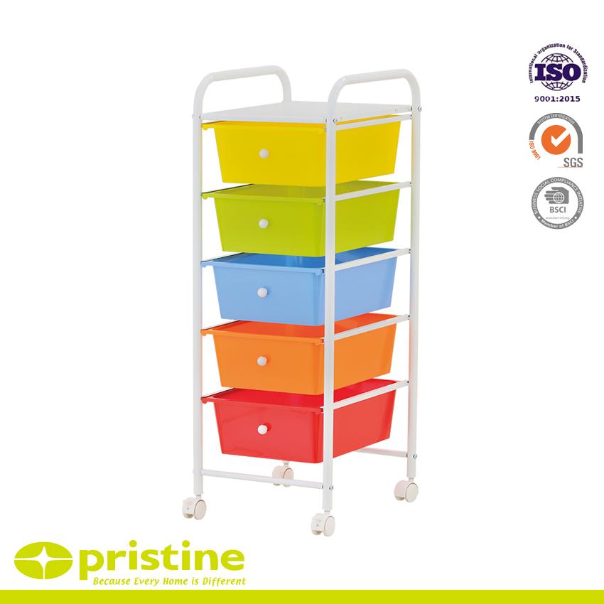 5 Drawer Rolling Storage Cart - 5 plastic drawer cart
