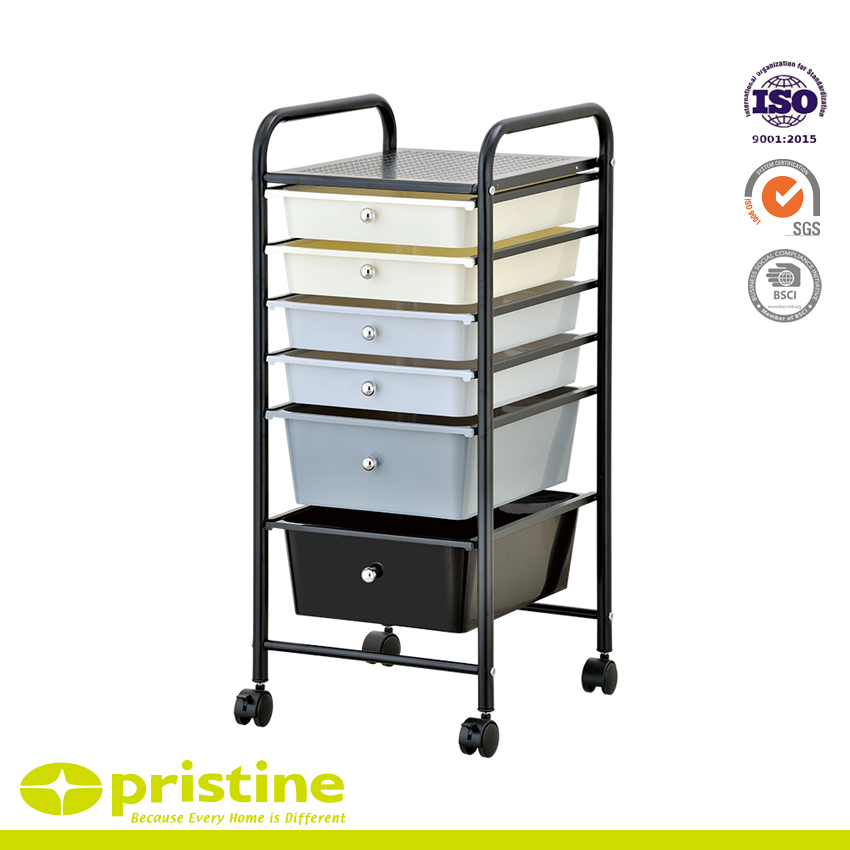 6 Drawer Rolling Storage Cart - Sturdy construction with bright chrome plated metal frame with 6 sliding PP drawers