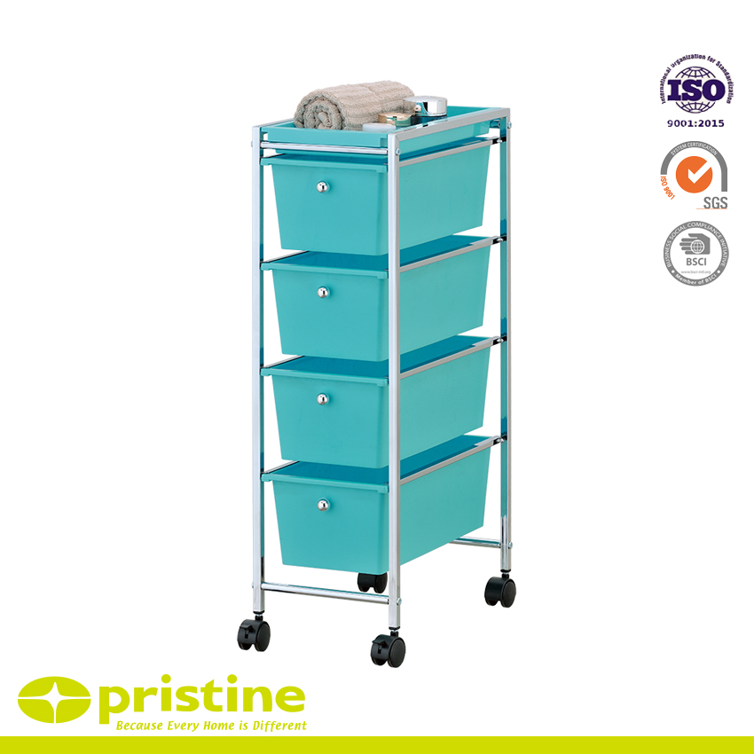4 Plastic Drawer Rolling Trolley Cart - 4 plastic drawer storage