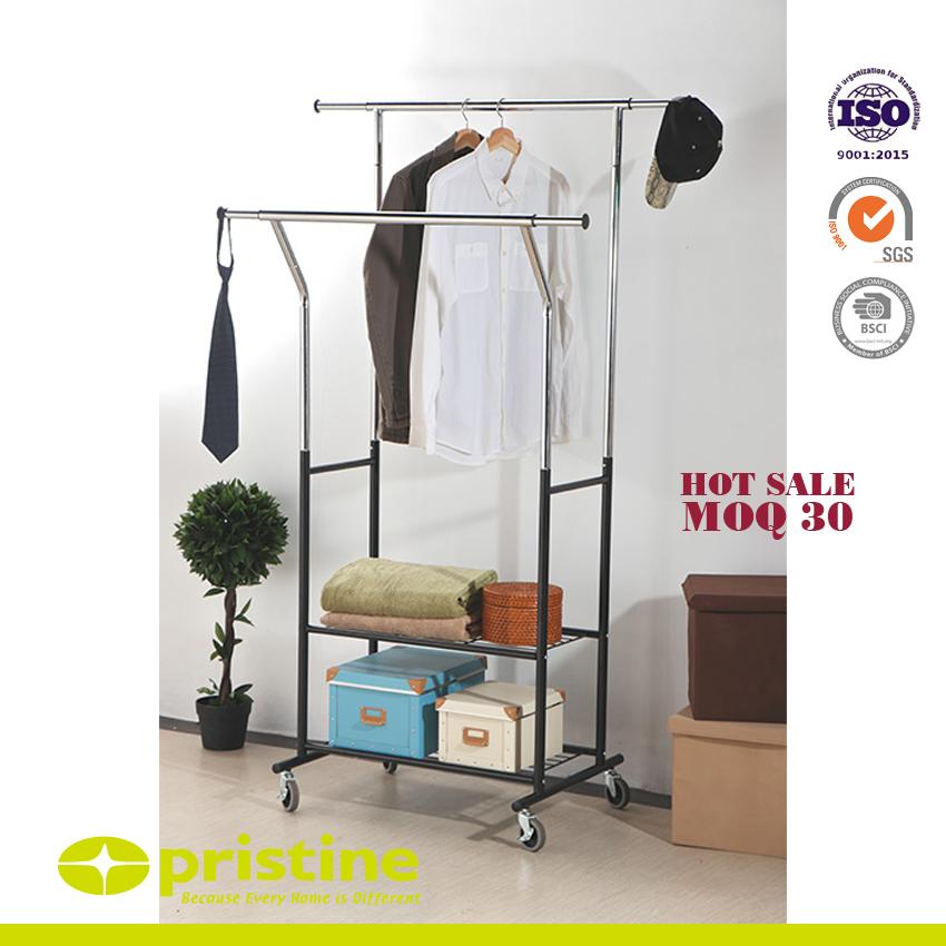 Porte-vêtements à 2 rails sur roues avec support de stockage à 2 niveaux - Portant à vêtements sur roues