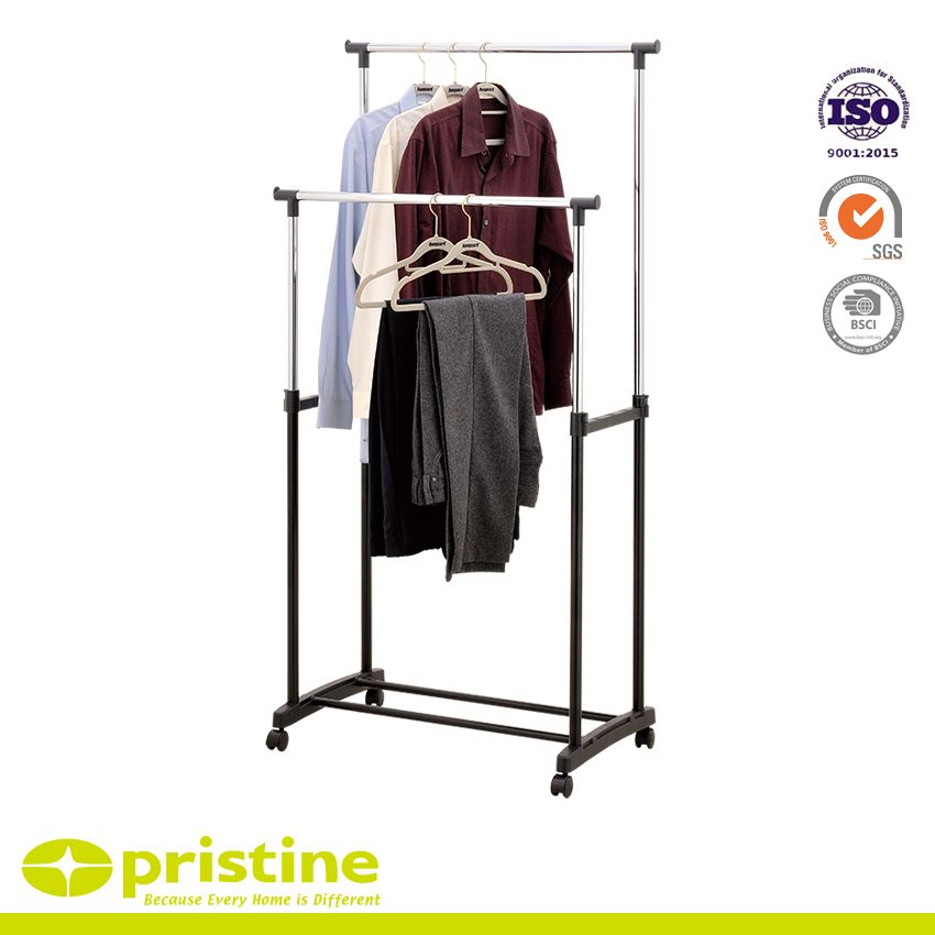 Double Rod Rolling Clothing Rack