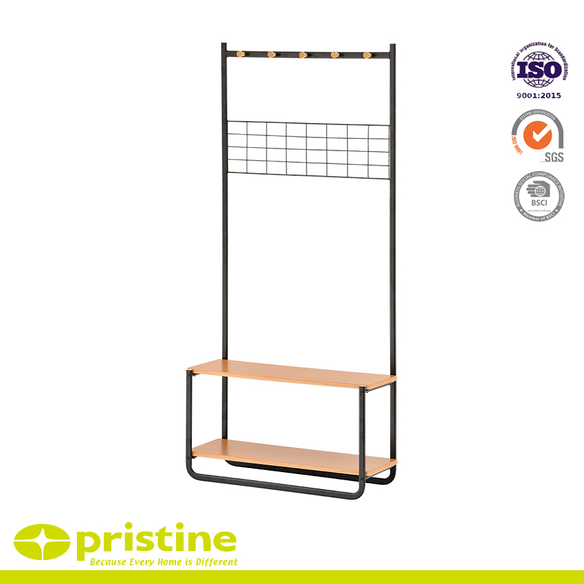 Multifunctional Garment Rack with Mesh - This hanger has many additional features and is integrated with the MDF board
