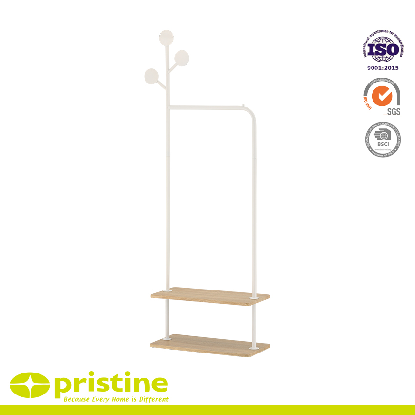 Metal Garment Hanger Bar & Shelf Combo White - Keep your closet, entryway, or mudroom well organized with this garment rack