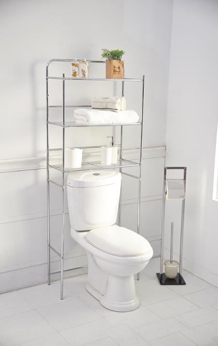 Bathroom Series - 3-shelf bathroom over the toilet rack is designed to fit over a standard-sized toilet