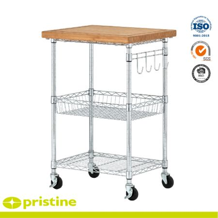 Bamboo Wire Service Cart - 4 chrome hooks offer hanging tool storage; 4 smooth-rolling wheels (2 locking)