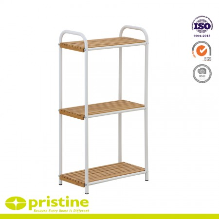 Bathroom Bamboo Holder 3-Tier Utility Shelf - 3-Tier Bamboo Utility Storage Shelf