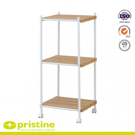 3-Tier Bamboo Shelf Trolley - 3-Tier Bamboo Utility Storage Shelf