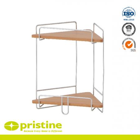 2 Tier Bathroom Bamboo Corner Shelf - Bathroom Shelf