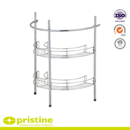 Semi-Circular Under Pedestal Sink Caddy Bathroom Shelving - Three wheeled base for easy mobility 2 tier design