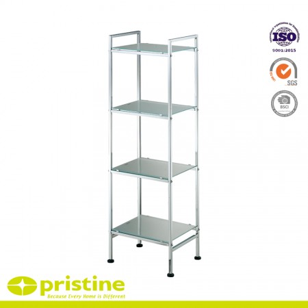 4-Tier Frosted Glass Stylish Shelf Shelving Unit - The four tier square shelf is a simple storage unit