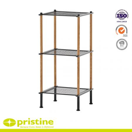 3-Tier Wire Shelf  with Wood Grain - Sturdy shelving that works well for organising products in any place