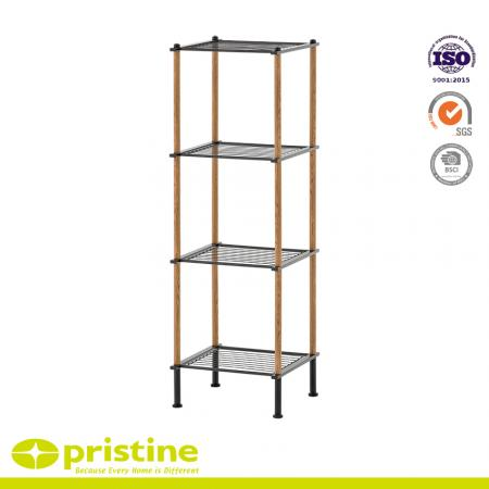 4-Tier Wire Shelf  with Wood Grain - Constructed of durable metal tube with a power coated finish, the stylish 4-shelf shelving unit offers the best of both rugged reliability and modern appeal