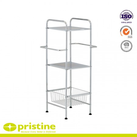 3 Tier Metal Towel Shelving with Basket and Towel Bar - 2-Tier metal towel Shelving with Basket