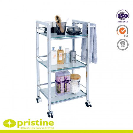 3-Tier Glass Shelf Trolley with 1 Towel Bar - 3-Shelf utility  cart is constructed with sturdy chrome plated steel