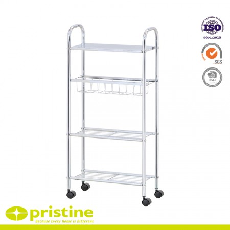 Slim Cart with 1-Basket and 3-Shelves - 4-Tier slim storage cart