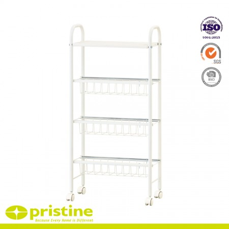 4-Tier Slim Rolling Cart - 4-Tier slim storage cart is made of powder coating steel with fashion design.