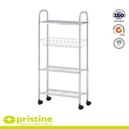 Slim Rolling Household Cart - This slim slide out storage tower has four casters wheels at the base that make it convenient to gently slide, pull out of the narrow space when needed