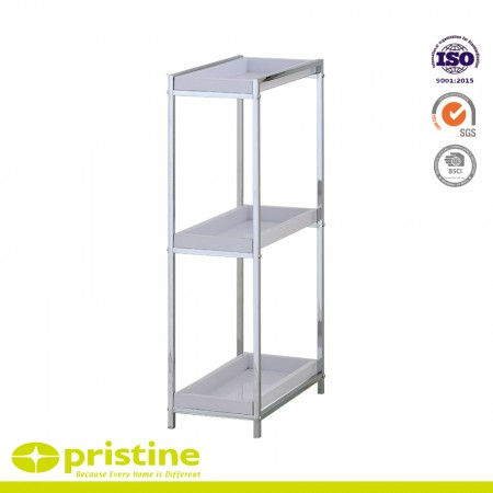 3 Tier Bathroom Storage Shelf with 3 Removable Plastic Tray - 3-Tier Bathroom Space saver with 3 Removable Plastic Tray
